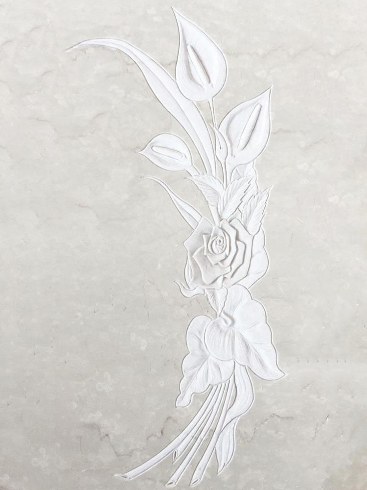 Decorazioni floreali in marmo o granito - Calla in basso rilievo