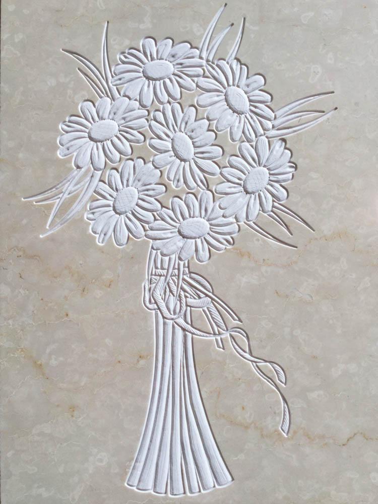 Decorazioni floreali in marmo o granito - Mazzo di margherite