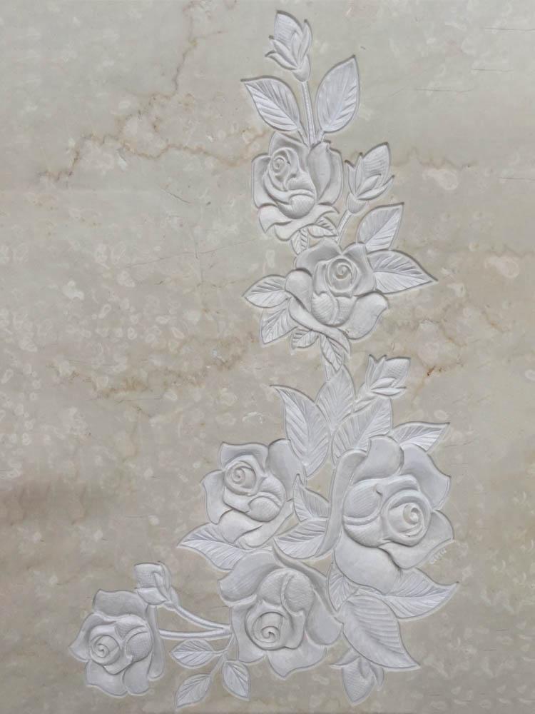 Decorazioni floreali in marmo o granito - Rose angolari