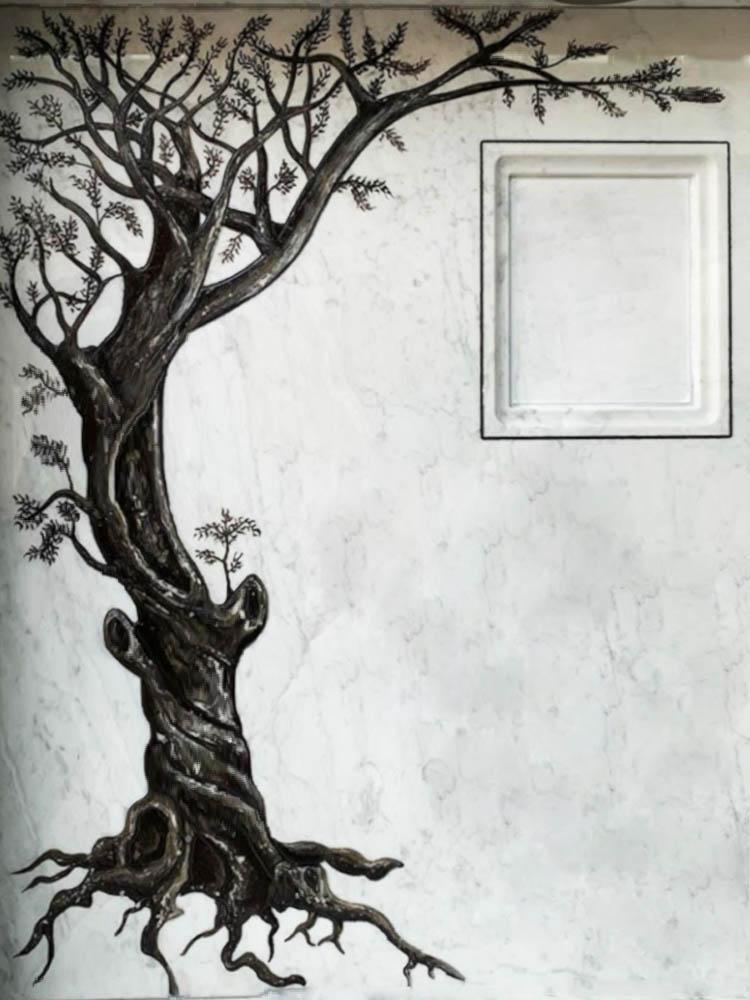 Lavori personalizzati in marmo o granito - Albero graffiato con foto