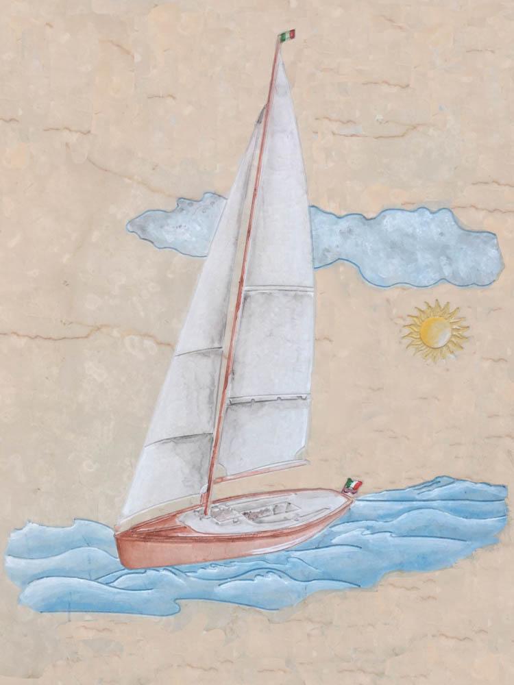 Lavori personalizzati in marmo o granito - Barca a vela