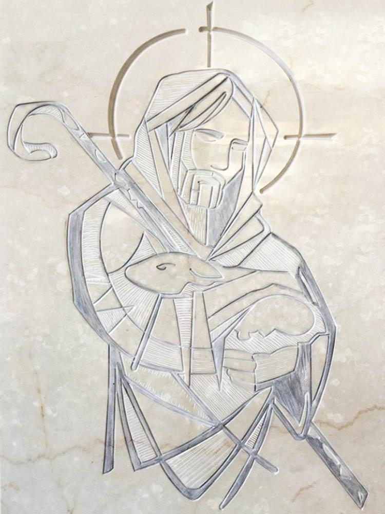 Lavori personalizzati in marmo o granito - Incisione Cristo pastore