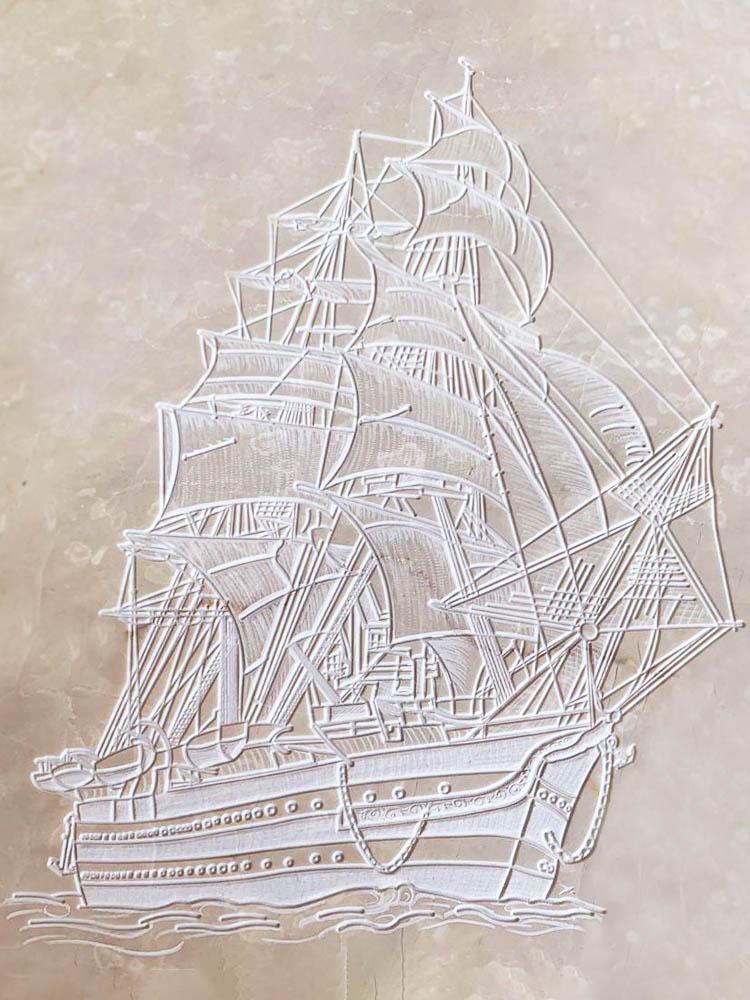 Lavori personalizzati in marmo o granito - Nave Amerigo Vespucci