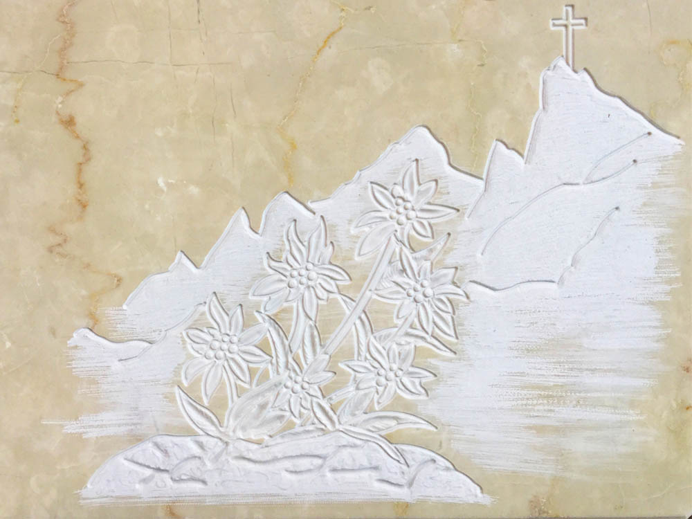 Custom works in marble or granite – Mountain with edelweiss