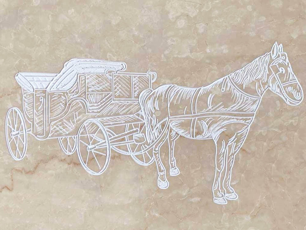 Customized works in granite marble – Horse with carriage engraving