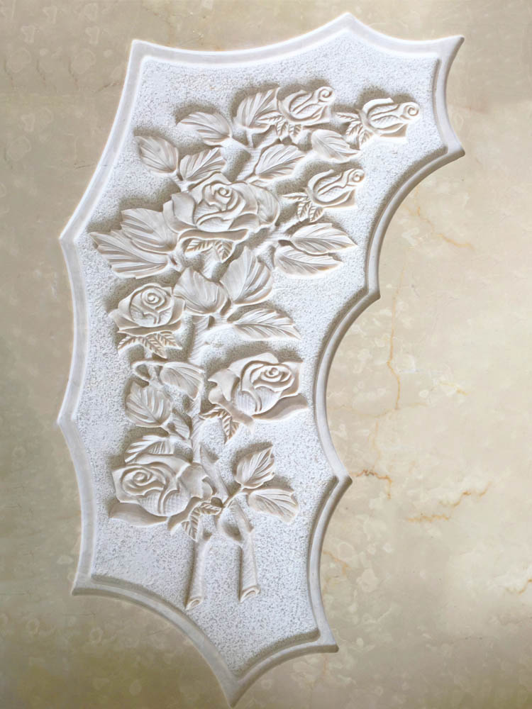 Floral decorations in marble or granite – Bunch of roses in low relief