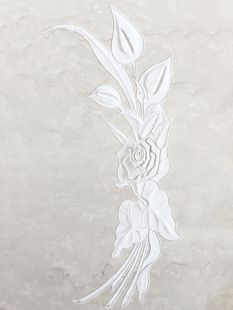 Floral decorations in marble or granite – Calla lily in low relief