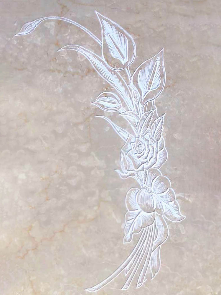 Floral decorations in marble or granite – Scratched calla