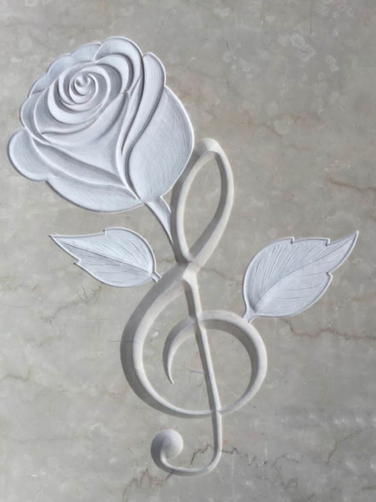 Personalized marble or granite works - Rose with treble clef