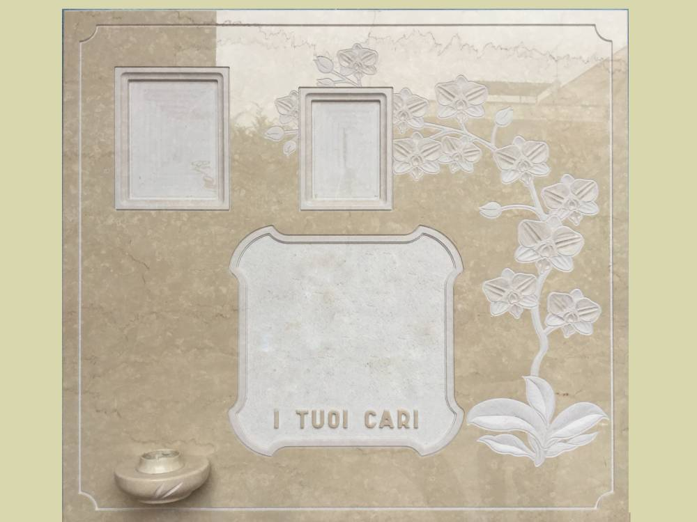 Tombstone with orchid